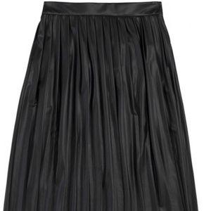 ZARA Woman Pleated Faux Leather Midi Skirt